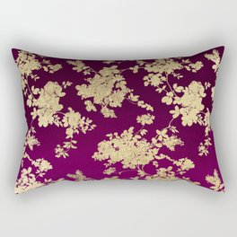 Chic faux gold burgundy ombre watercolor floral Rectangular Pillow