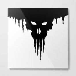 Dissolved Black Skull Metal Print