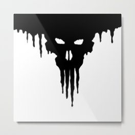 Dissolved Black Skull Metal Print