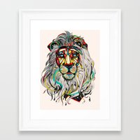 king Framed Art Prints featuring Lion by Felicia Atanasiu