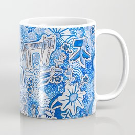 Delft Blue and White Pattern Painting with Lions and Tigers and Birds Coffee Mug