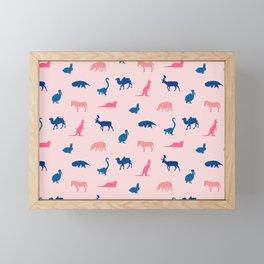 Pastel animal silhouettes Framed Mini Art Print