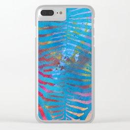 Zebra Stripes | Blue Multi | Watercolor Animal Print Art Clear iPhone Case