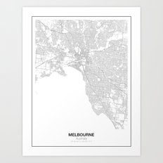 Melbourne, Australia Minimalist Map Art Print