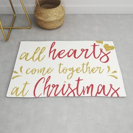 All hearts come together at Christmas typography design Rug