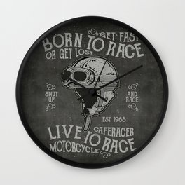 Born to Race Motorcycle Vintage Chalkboard Poster Wall Clock