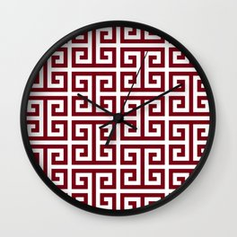 Large Burgundy Red and White Greek Key Pattern Wall Clock
