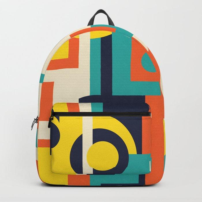 Funky Geometry (Modern Vibrant Color Palette) Backpack