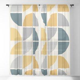 Mid Century Circles Yellow Sheer Curtain