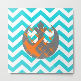 Wraith Squadron and Chevrons in Blue, Gray and Orange Metal Print
