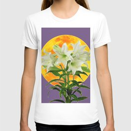 EASTER LILIES ON LILAC GOLDEN MOON ABSTRACT T-shirt