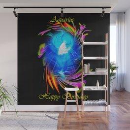 Zodiac sign Aquarius  Happy Birthday Wall Mural