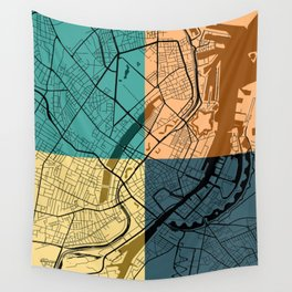 Chicago Illinois Colorful Street Map Wall Tapestry