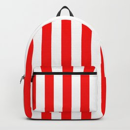 Large Berry Red and White Rustic Vertical Beach Stripes Backpack