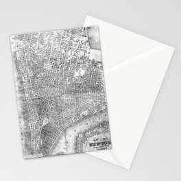 Vintage Map of New York City (1852) BW Stationery Cards