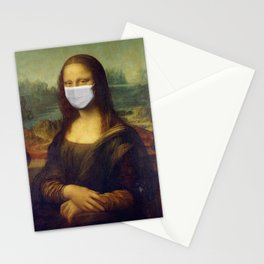 Mona Lisa with Respirator Mask Stationery Cards