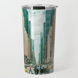 New York street and a yellow taxi Travel Mug