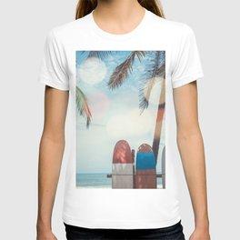 Surf Life Tropical Coastal Landscape Surfboard Scene T-shirt