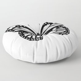 Monarch Butterfly | Vintage Butterfly | Black and White | Floor Pillow