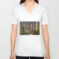 cityscape V-neck T-shirts featuring Cityscape by Viggart