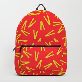 Modern abstract geometrical red yellow v shape motif Backpack