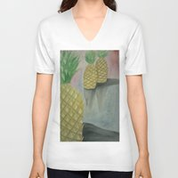 pineapples V-neck T-shirts featuring Festive Pineapples by Emily Lowe