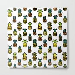 Pineapples Pattern Cute 510 Metal Print