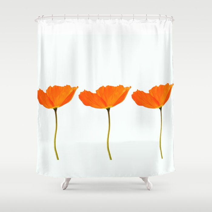 Three Orange Poppy Flowers White Background Decor Society6 Art Shower Curtain