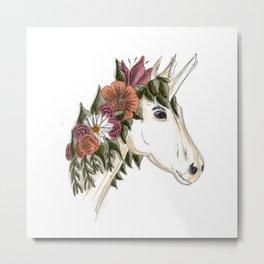 Floral Unicorn Metal Print