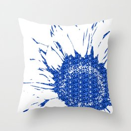 Sparkley Blue Flower Throw Pillow