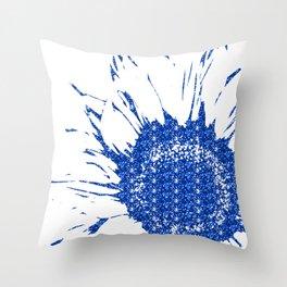 Sparkley Blue Flower Throw Pillow