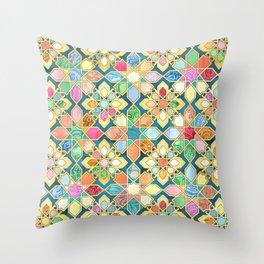 Gilded Moroccan Mosaic Tiles Throw Pillow
