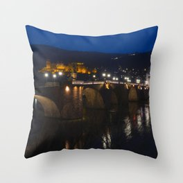 Heidelberg Bridge and Castle by Night Throw Pillow