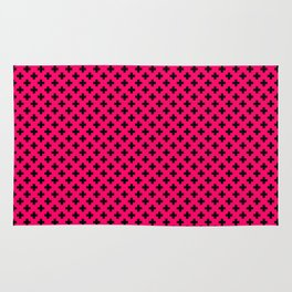Small Black Crosses on Hot Neon Pink Rug