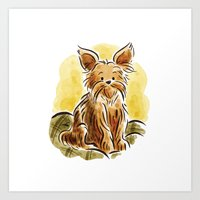 yorkie Art Prints featuring Yorkie by Renee Kurilla