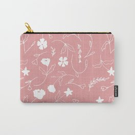 Modern blush pink  coral white hand painted floral Carry-All Pouch
