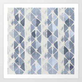 Simply Braided Chevron Indigo Blue on Lunar Gray Art Print