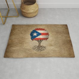 Vintage Tree of Life with Flag of Puerto Rico Rug