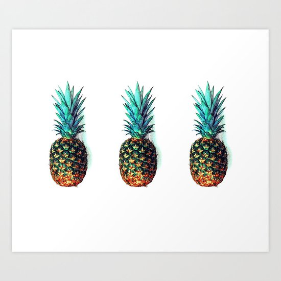 tri soldier pineapples Art Print