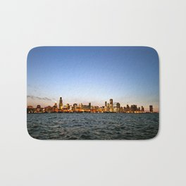Chicago Skyline Sunset Bath Mat