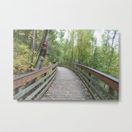Walking Bridge in the Woods Metal Print