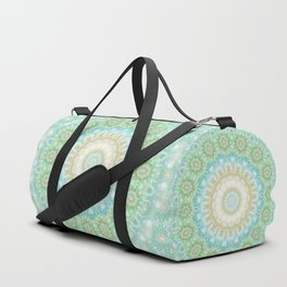 Earth and Sky Mandala in Pastel Blue and Green Duffle Bag