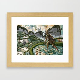 In the Rice Paddies Framed Art Print