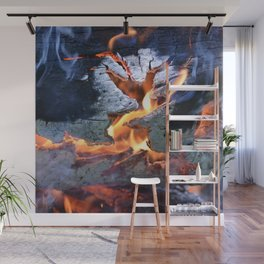 black white and flame Wall Mural