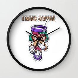 Funny I Need Coffee Wall Clock