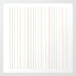 Modern geometrical pink coral green white stripes Art Print