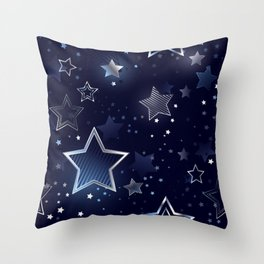 Seamless Background with Silver Stars Throw Pillow