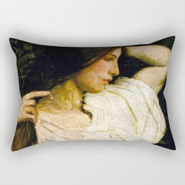 Girl Arranging Her Hair - Abbott Handerson Thayer Rectangular Pillow