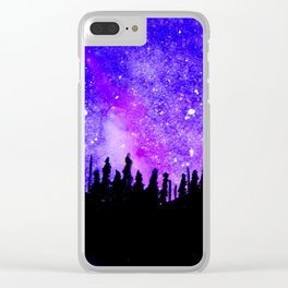 Purple Stars Clear iPhone Case