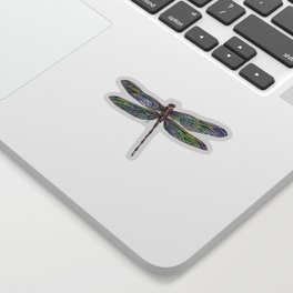 Colorful Dragonfly Drawing Sticker